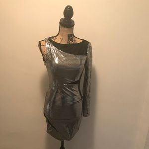 Bebe Silver and Black Mesh Party Dress